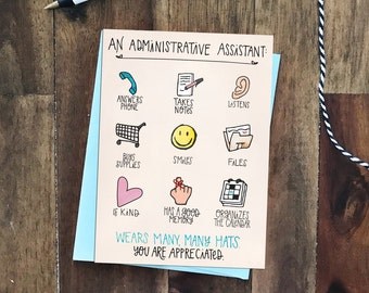An Administrative Assistant Wears Many Hats Greeting Card - Admin Appreciation Day April 26 - male or female, thank you