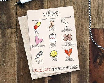 A Nurse Saves Lives Greeting Card - Nurse's Appreciation Day May 6, 2017 - Gender neutral, whimsical illustrations, nurse drawings