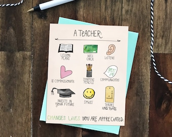 A Teacher Changes Lives Greeting Card - Teacher Appreciation Week May 1-5, 2017 - teacher jobs, gender neutral, whimsical illustrations
