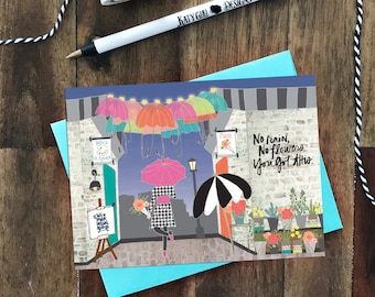 No Rain, No Flowers - You Got This - Encouragement Greeting Card - perfect for any occasion, job interview, break up, hard day, female
