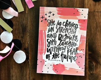 She Is Clothed In Strength - Proverbs 31:25 Hand Brush Lettered Print - perfect for females, encouragement, nurseries, dorm