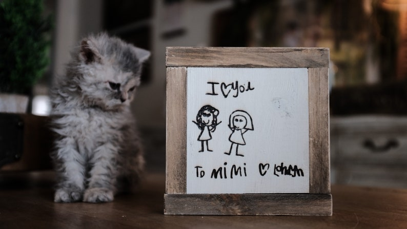 Handmade Wooden Mini Signs laser engraved with your loved ones handwriting handwritten kids artwork memory love note