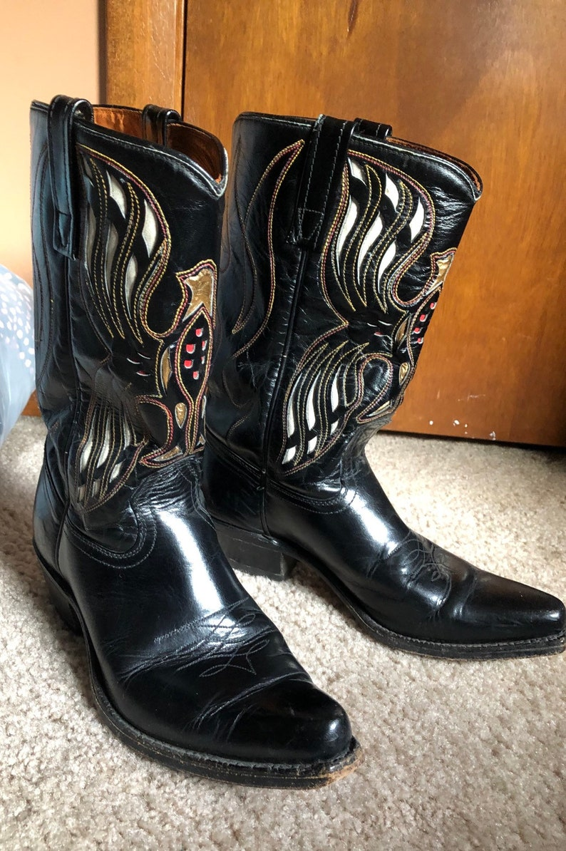 040d3d06540 Vintage ACME Black Cowboy Boots Eagle Inlay Design Cowgirl Rockabilly  Western Country Music Nashville 7.5 D