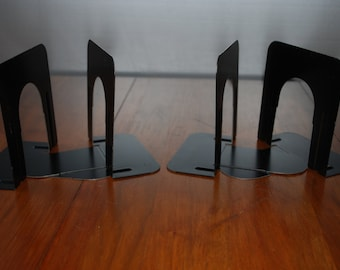 Two vintage pair of Jet Black - Mid Century - Metal Bookends