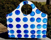 Briefcase Purse Hand painted Leather Blue and White Polka Dots