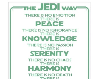 Jedi Code Cross Stitch Pattern