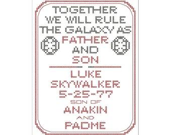 Star Wars Sith Birth Sampler
