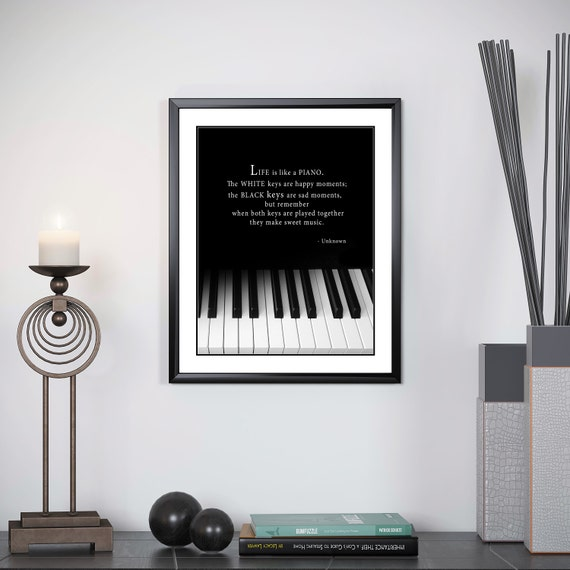 Motivational Music Quote Piano Keyboard Black And White Etsy