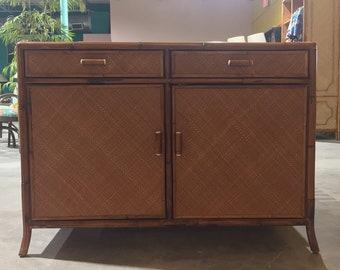 Vintage Tropical Modern Rattan Cabinet