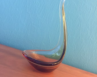 Vintage Mid Century Modern Bimorphic Glass Votive Holder Inspired By Viking Glass