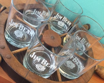 Swanky Vintage 1970s Jim Beam On The Rocks Glasses with Ships Wheel Tray