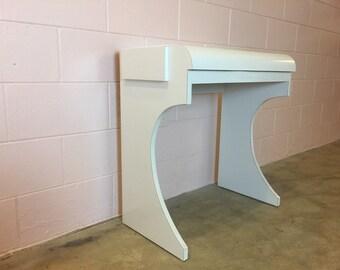 Vintage 1980s Post Modern White Laminate Waterfall Vanity Table
