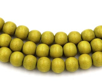 Chartreuse Green Wood Round 8mm, Green Boho Wood Beads -16 inch strand