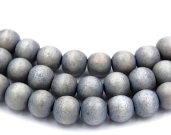 Cloudy Sky Gray Wash Wood Round 8mm, Gray Boho Wood Beads Earth Gray Beads -16 inch strand