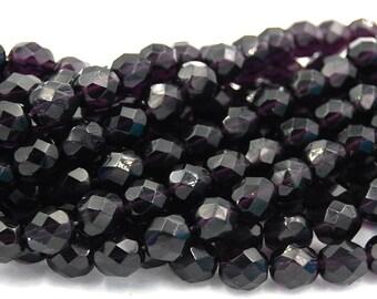 8mm Tanzanite Purple Czech Glass Faceted Bead  -25 czech beads