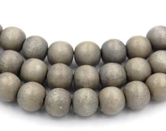 Fog Gray Wash Wood Round 8mm, Gray Boho Wood Beads Earth Gray Beads -16 inch strand