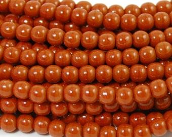 Umber Brown Czech 4mm round beads   - 100 Czech Beads