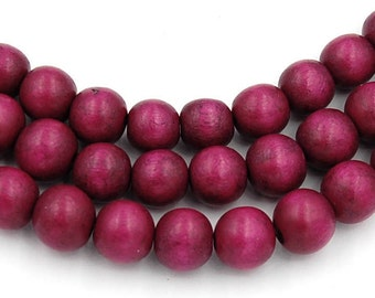 Mulberry Purple Wood Round 8mm, Red/Violet Purple Boho Wood Beads -16 inch strand