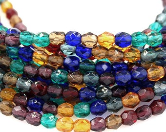 Winter Mix Czech Glass Bead 4mm Faceted Round - 50 Pc