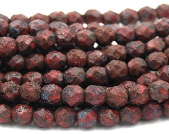 Czech Bead Firepolish 6mm Opaque Red Stone Picasso 25 Pieces