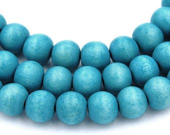 Island Blue Wood Round 8mm, Turquoise Blue Boho Wood Beads -16 inch strand