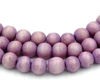 Wisteria Light Purple Wood Round 8mm, Purple Boho Wood Beads -16 inch strand