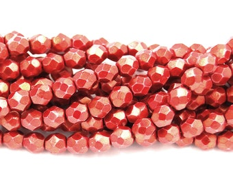 25 6mm Beads Red Halo Cardinal Round Faceted Crystals Firepolish T-55B