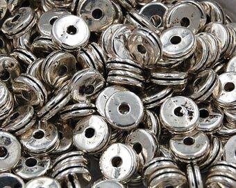 Silver finish Tibetan Flat Round Beads, 8mm round -50
