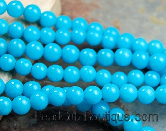4mm Round Turquoise Blue Jade Beads Opaque Smooth - 16 inch strand