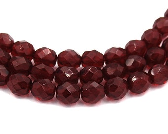8mm Garnet Czech Glass Faceted Bead  -25 czech beads