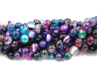 """Purple Faceted Agate, Banded Agate, 6mm Faceted Teal and Purple,  - 14.5"""" strand"""