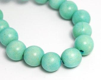 8mm Seafoam Green Wood Beads -16 inch strand