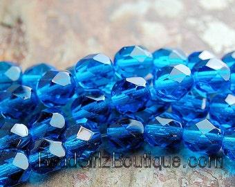 Capri Blue Czech Faceted Glass Bead 6mm Round - 25 Pc