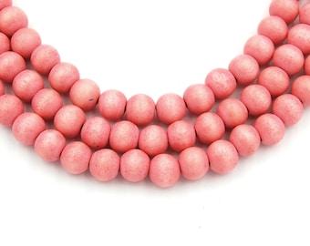 Pink Wood Round 8mm, Old World Pink Boho Wood Beads -16 inch strand