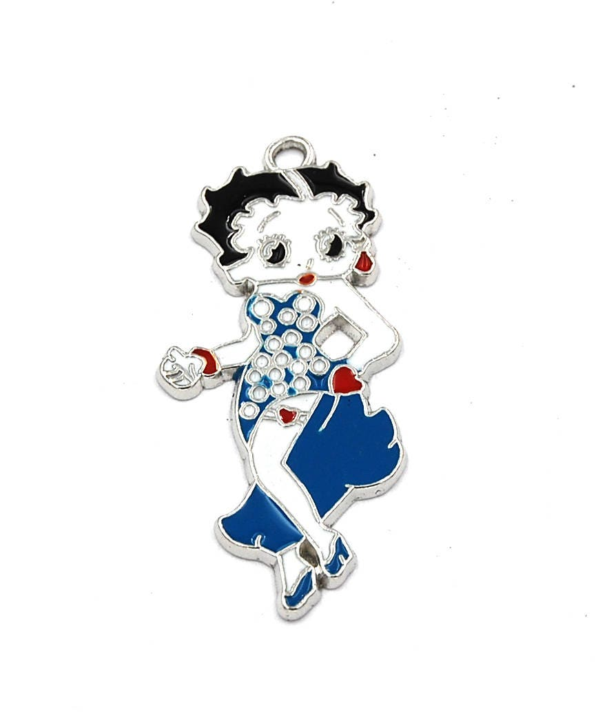 Glitz Glam Blue Diamontrigue Jewelry: Glamour Girl Charm Silver Blue Enamel Pendant