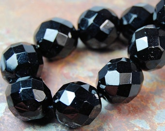 8mm Czech Beads Faceted  in Opaque Black -16 inch strand