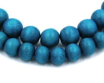 Cool Teal Blue Beads 6mm, 8mm, 10mm Boho Wood beads -16 inch strand