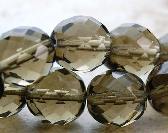 10mm Czech Beads Faceted  in Light Smoky Grey -10