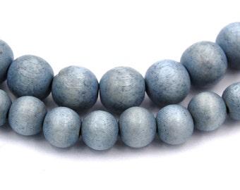 Faded Denim Blue Beads 6mm, 8mm, 10mm Boho Wood beads -16 inch strand