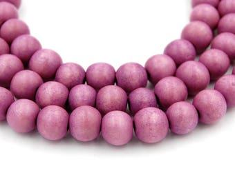 Pink Raspberry Wood Round 8mm, Light Purple Boho Wood Beads -16 inch strand