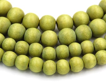 Green Apple Beads 6mm 8mm 10mm Boho Green Wood beads -16 inch strand