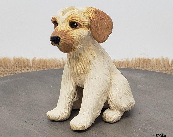 Dog Goldendoodle Sculpture - Realistic Dog Figurine Pet Portrait - Goldendoodle Wedding Cake Topper