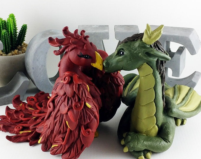 Dragon and Phoenix Wedding Cake Topper - Mythical creatures sculpture