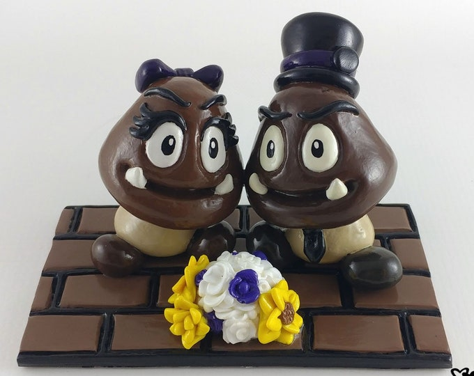 Goomba and Goombette Wedding Cake Topper - Mario