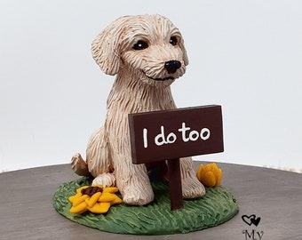 Goldendoodle Cake Topper - Dog Sculpture - Realistic Dog Wedding Figurine - I do Too sign - Pet Wedding Cake Topper