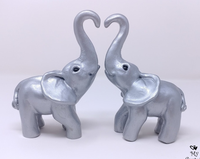 Elephant Wedding Cake Topper - Golden Heart formed with trunks - East Indian Religious - Keepsake - Figurine - Anniversary Gift
