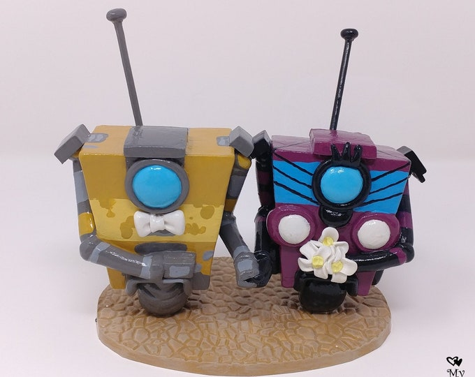 Claptrap Wedding Cake Topper from Borderlands - Video Game Wedding Cake Topper Figurine - Nerd Geek Love - Digital Love - Gamer Wedding