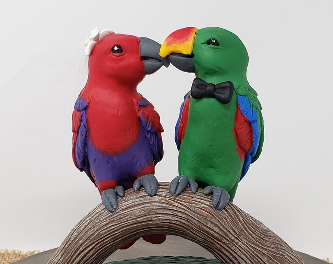 Eclectus Parrots Cake Topper - Love Birds Wedding Figurine - Cuddling Colorful Bird on a Branch - Pick Your Colors and Flowers