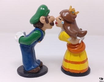 READY TO SHIP Luigi Cake Topper - Luigi and Daisy Super Mario Wedding Prince and Princess - Video Game Cake Topper - Gamer Wedding