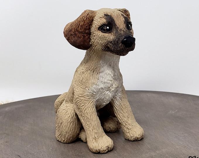 Puggle Female Dog Sculpture - Realistic Dog Figurine - Pet Portrait - Puggle Wedding Cake Topper